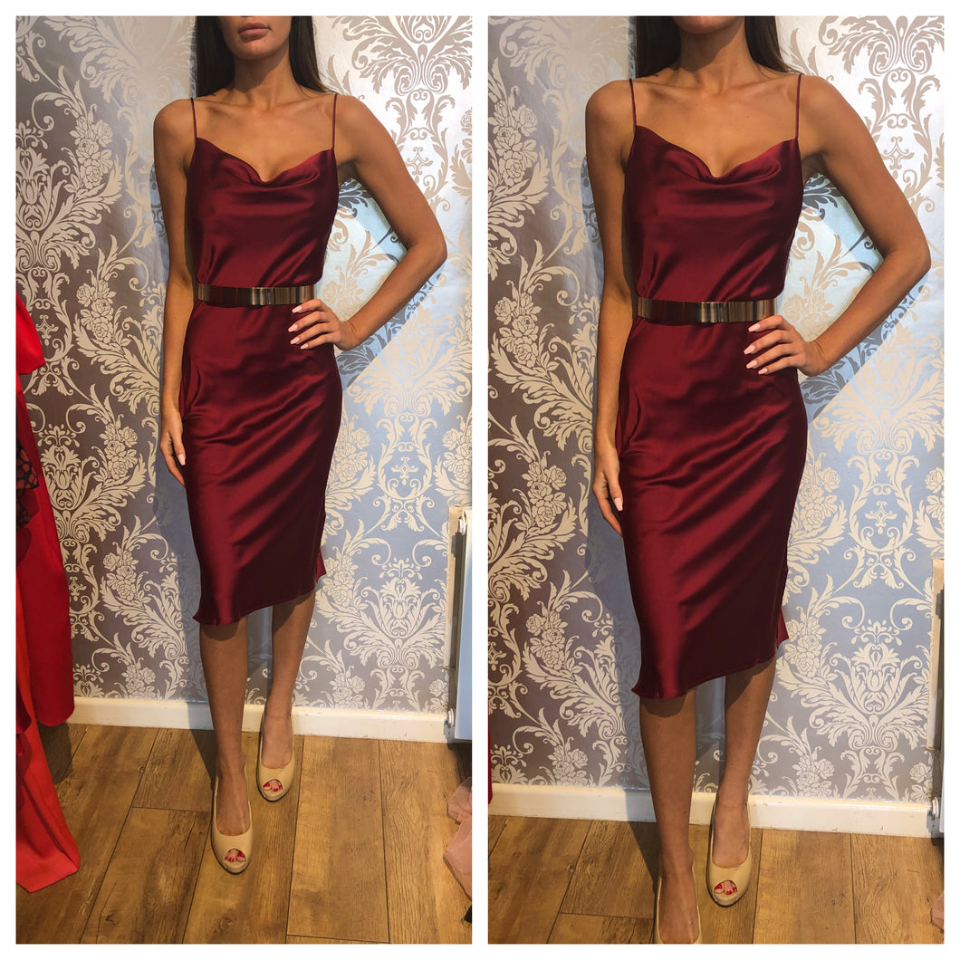 Burgundy silky dress