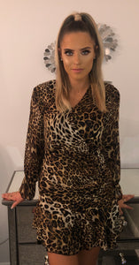 Leopard Print Gathered Dress