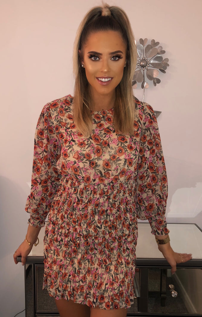 Rouched floral dress