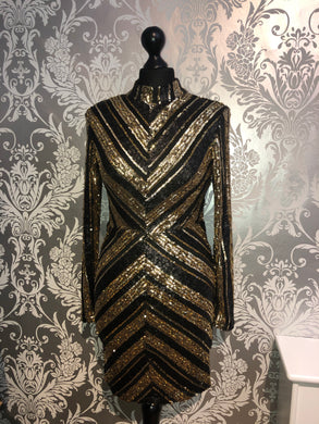 Black and gold sequin mini dress