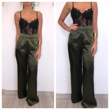 Load image into Gallery viewer, Rosalyn Khaki silky wide leg trousers