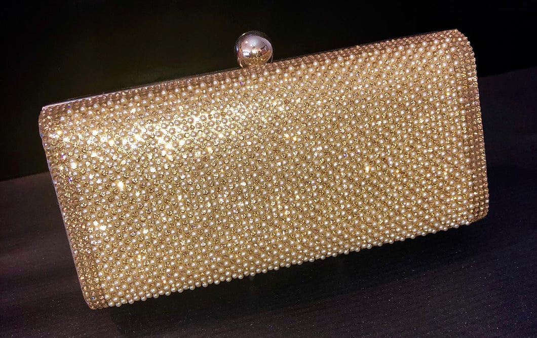 Gold diamonte and pearl clutch bag