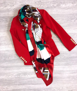Red print silky scarf