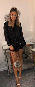 Black Sequin and Mesh Blouse