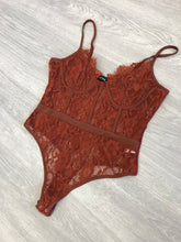 Load image into Gallery viewer, Valerie rust lace bodysuit