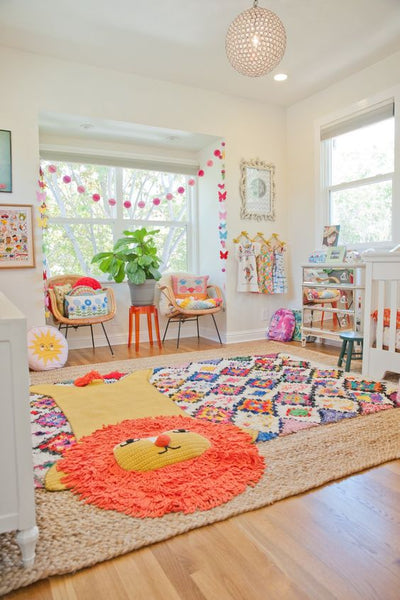 Moroccan Berber Rug / Boucherouite in the playroom