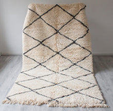 Load image into Gallery viewer, Vintage Beni Ouarain Rug 'Double Black Stripes'