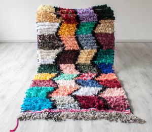 Vintage Boucherouite Rug 'Boho Patches' - Small