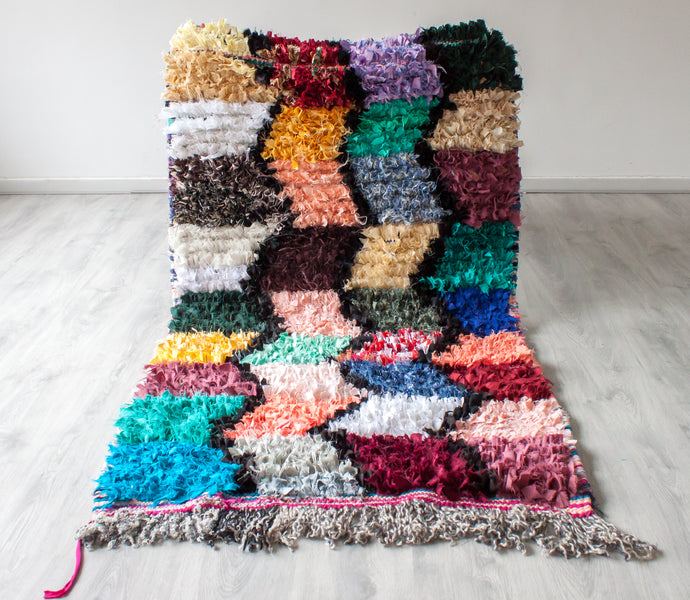 Vintage Boucherouite Rug 'Boho Patches' - Small - a Modern Medina