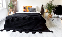 Load image into Gallery viewer, Deluxe Pompom Blanket 'Black' - Large - a Modern Medina