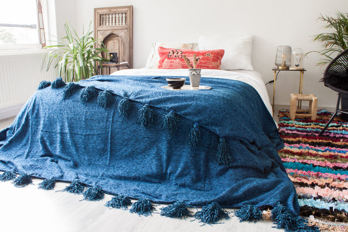 Deluxe Pompom Blanket 'Midnight Blue' - Extra Large