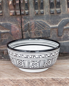 Handmade Bowl - Set of Two - Black & White 'Flowers' - a Modern Medina