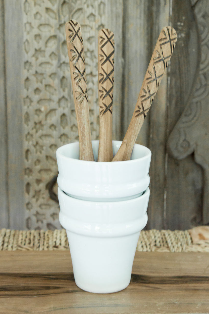 Coffee Cups - Set of Two - 'Beldi' White - a Modern Medina