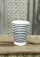 Load image into Gallery viewer, Coffee Cups - Set of two - Black and White 'Striped' - a Modern Medina