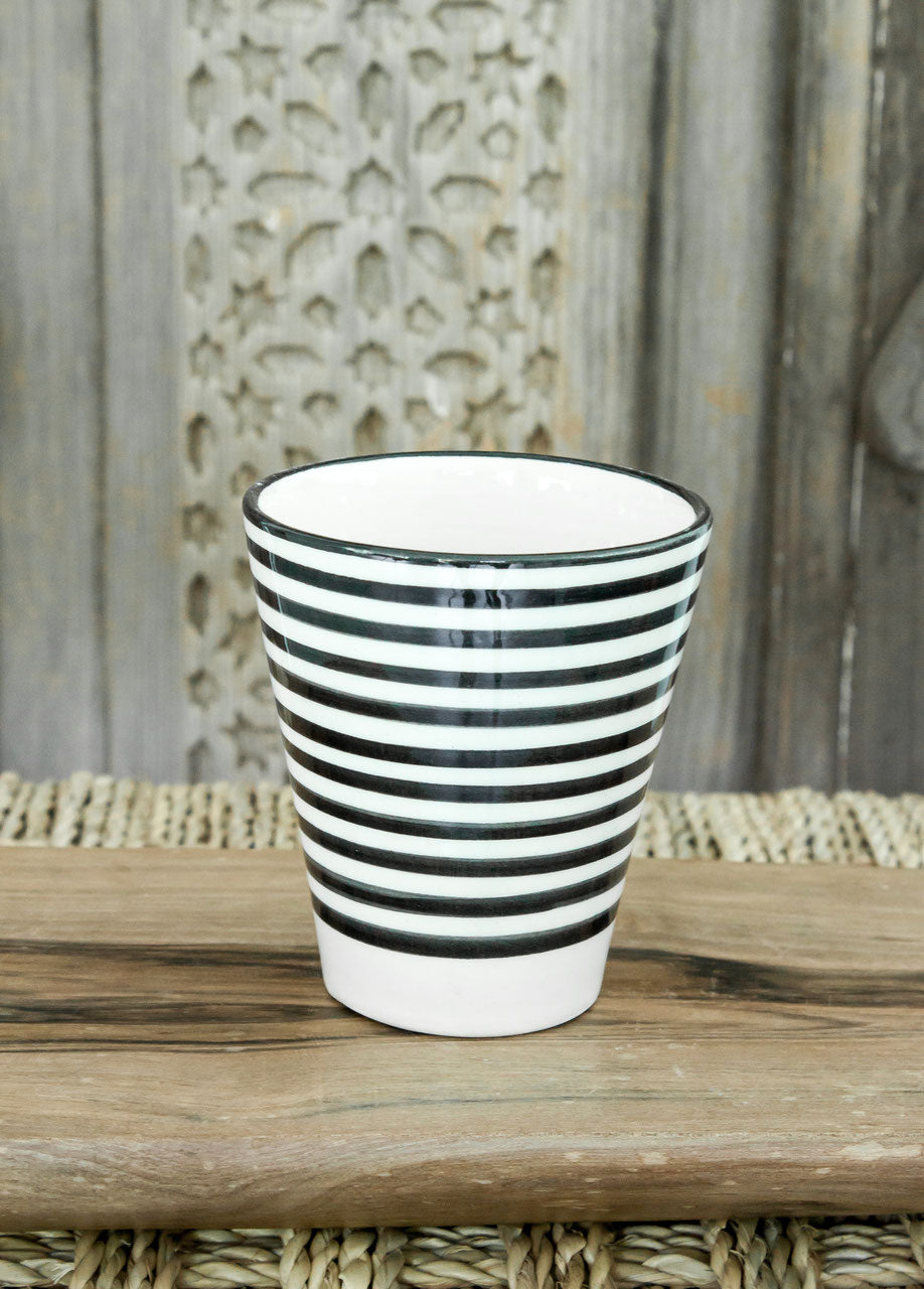 Coffee Cups - Set of two - Black and White 'Striped' - a Modern Medina