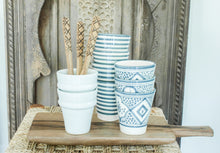 Load image into Gallery viewer, Coffee Cups - Set of two - Grey/Blue 'Striped' - a Modern Medina