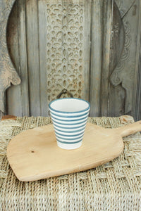 Coffee Cups - Set of two - Grey/Blue 'Striped' - a Modern Medina