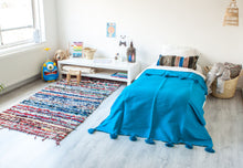 Load image into Gallery viewer, Kids Pompom Blanket 'Ocean Blue' - a Modern Medina