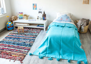 (Temporarily) Out of Stock - Kids Pompom Blanket 'Soft Blue' - a Modern Medina