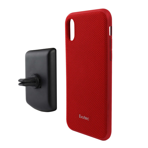 Evutec Ballistic Nylon Case w/Vent Mount for iPhone XR - Red