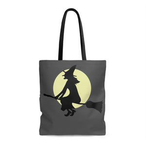 Flying Witch in Black Tote Bag