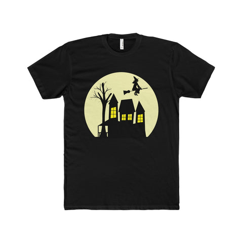 Men's Haunted House Cotton Crew Tee - Front Side Only, Multi Colors