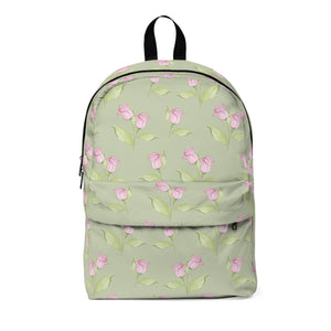 Pink Floral in Green Classic Large Backpack