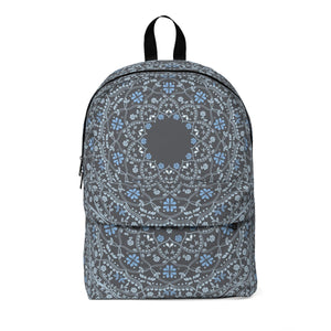 Blue Mandala in Gray Classic Large Backpack with space for Monogram