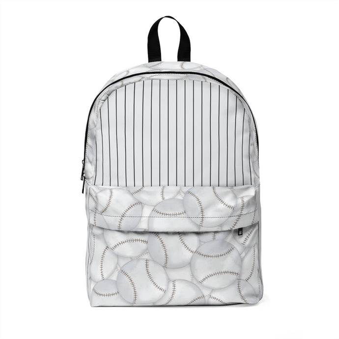 baseballs classic large backpack with pinstripes