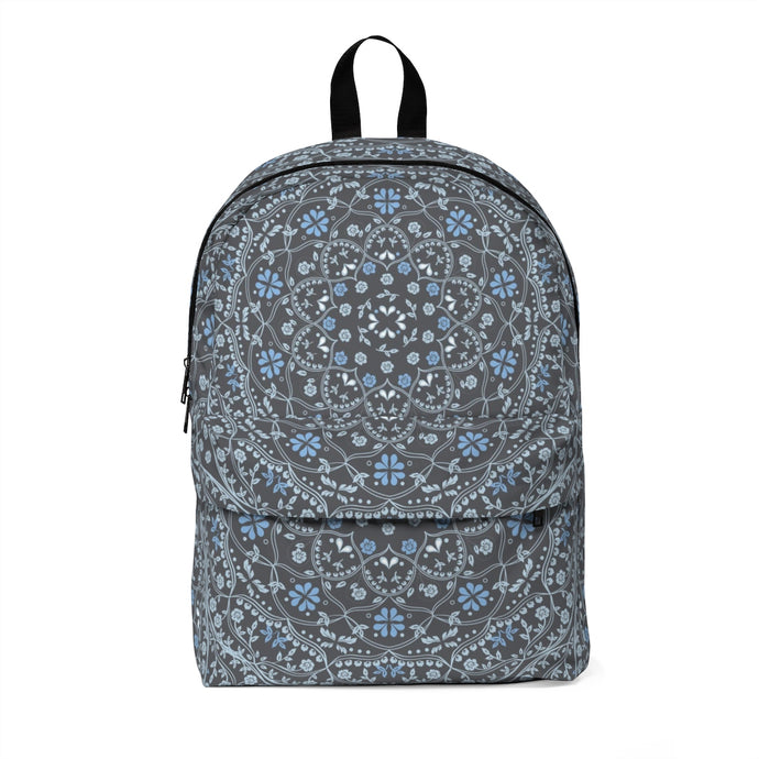 Blue Mandala in Gray Classic Large Backpack