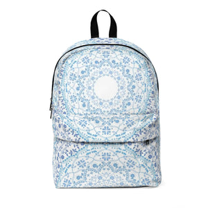 Light Blue Mandala Classic Large Backpack with space for Monogram