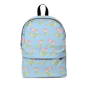Pink Floral in Blue Classic Large Backpack