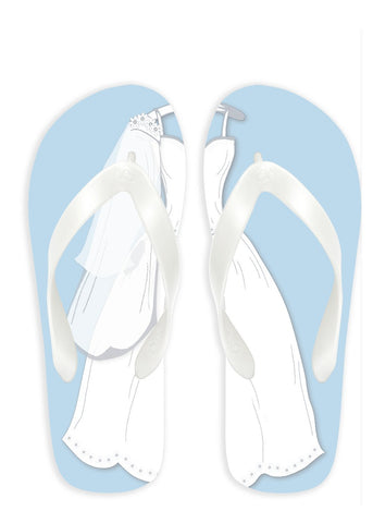 Bride with Blue background Flip Flops