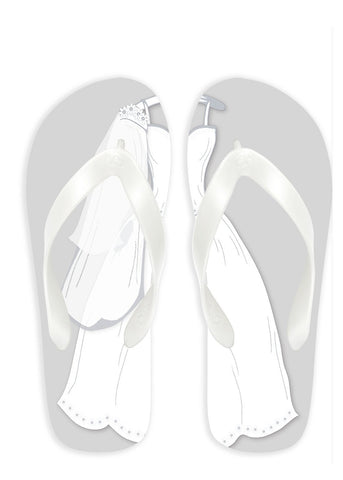 Bride with Gray Background Flip Flops