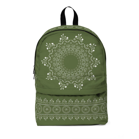 Floral Mandala in Kale Green Classic Large Backpack with space for Monogram