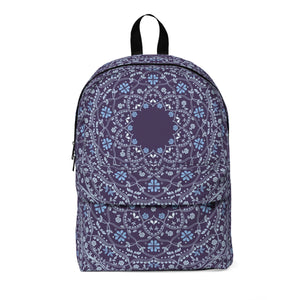 Blue Mandala in Purple Classic Large Backpack with space for Monogram