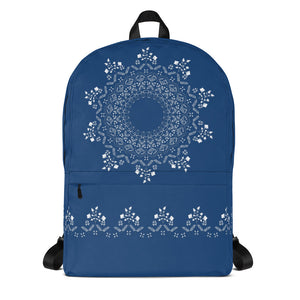 Floral Mandala in Navy Medium Backpack