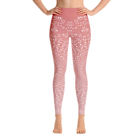 Mandala Peach Yoga Leggings