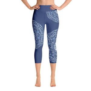 Blue Mandala in Blue Yoga Capri Leggings