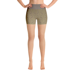Gold Filigree in Brown Yoga Shorts