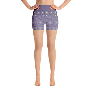 Elephant Mandala in Purple Yoga Shorts