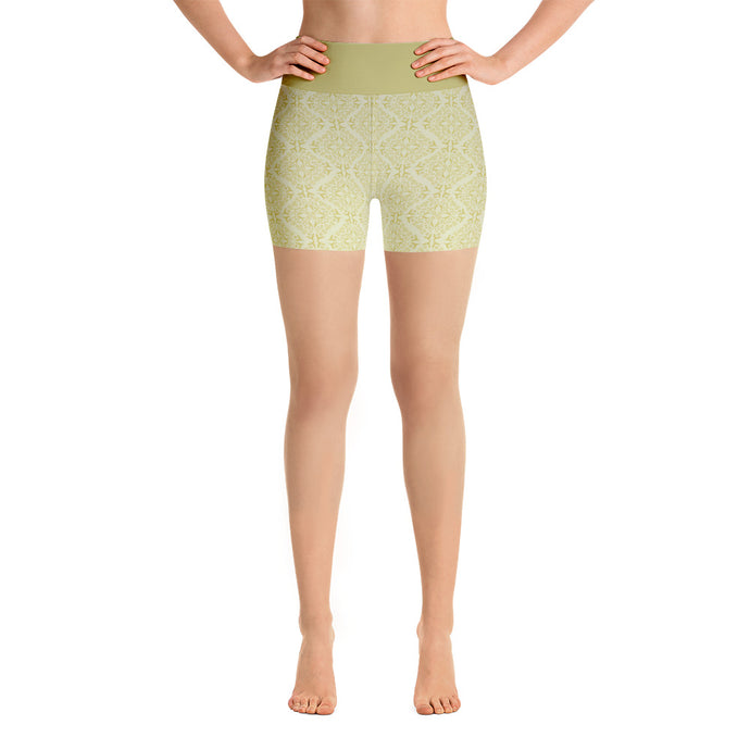 Gold Filigree in Gold Yoga Shorts