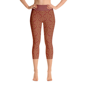Gold filigree in Crimson Yoga Capri Leggings