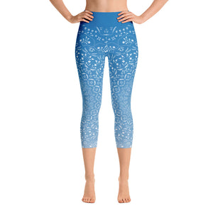 Mandala Blue Yoga Capri Leggings