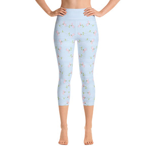Cherry Blossoms Falling, Blue Yoga Capri Leggings