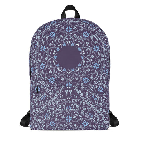 Blue Mandala in Purple Medium Backpack with space for Monogram