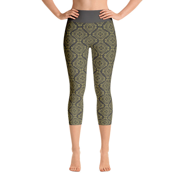 Gold Filigree in Black Yoga Capri Leggings