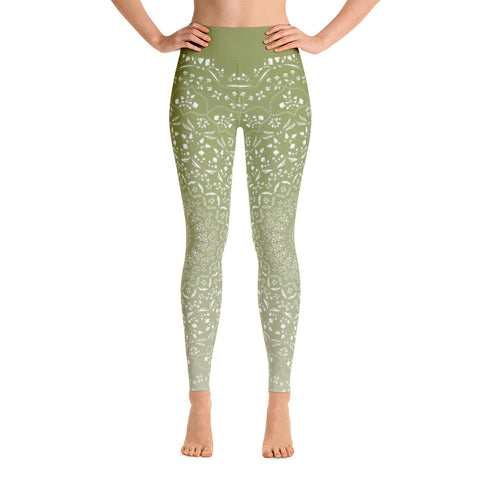 Mandala Green Yoga Leggings