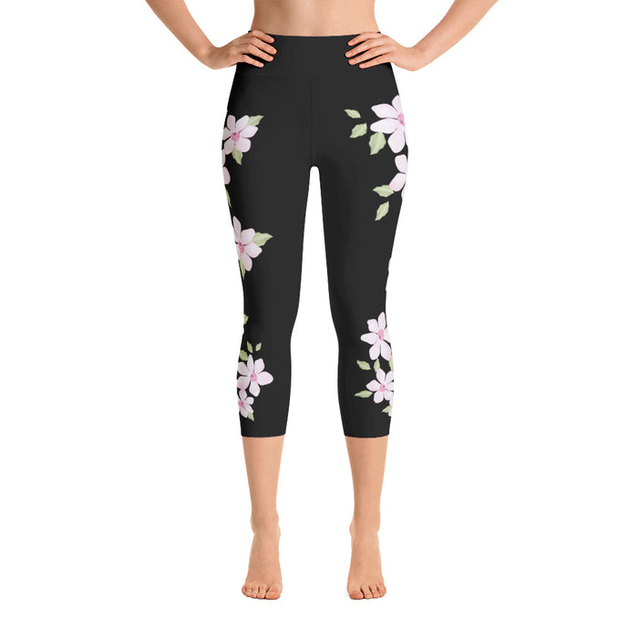 pink Floral on Black Yoga Capri Leggings