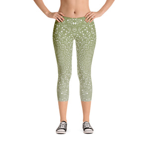 Mandala Green Capri Leggings